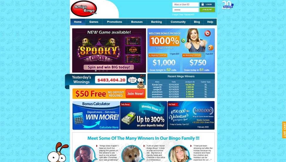 Amigo Bingo – 600% bonus and $50 free no deposit games and lobby