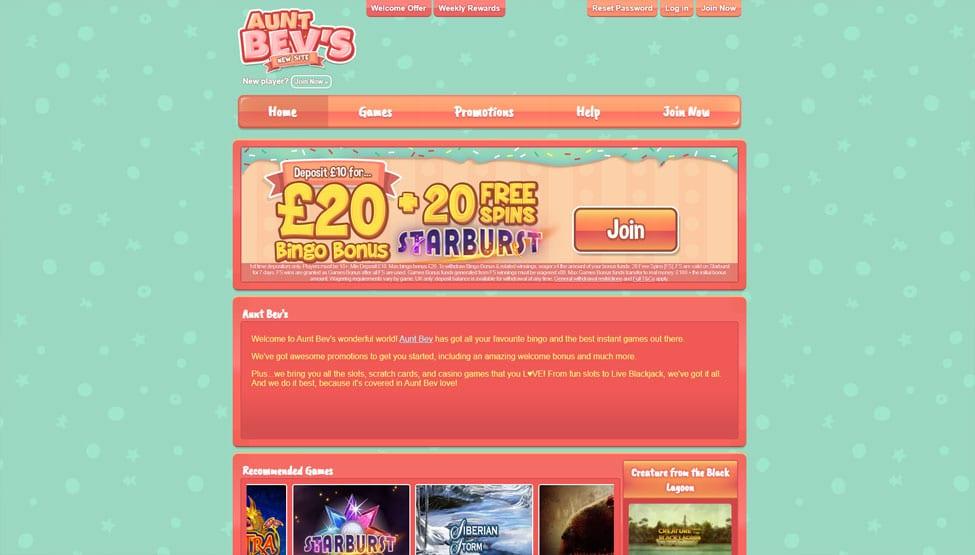 Aunt Bevs Bingo –  £20 Bingo Bonus + 20 Free Spins games and lobby