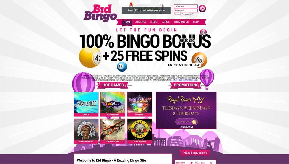 Bid Bingo – 100% welcome bingo bonus and 25 free spins games and lobby