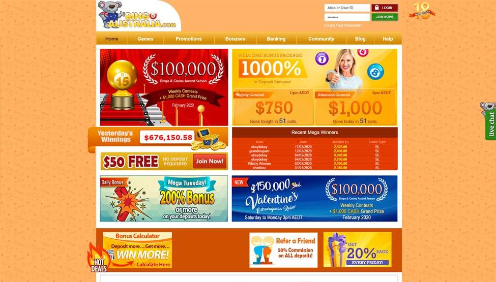 Bingo Australia – get 1000% Bonus and $50 free no deposit games and lobby