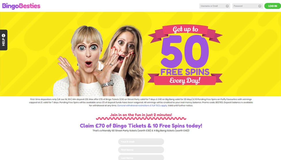 Bingo Besties – No wagering 700% Bonus + 10 Free Spins games and lobby