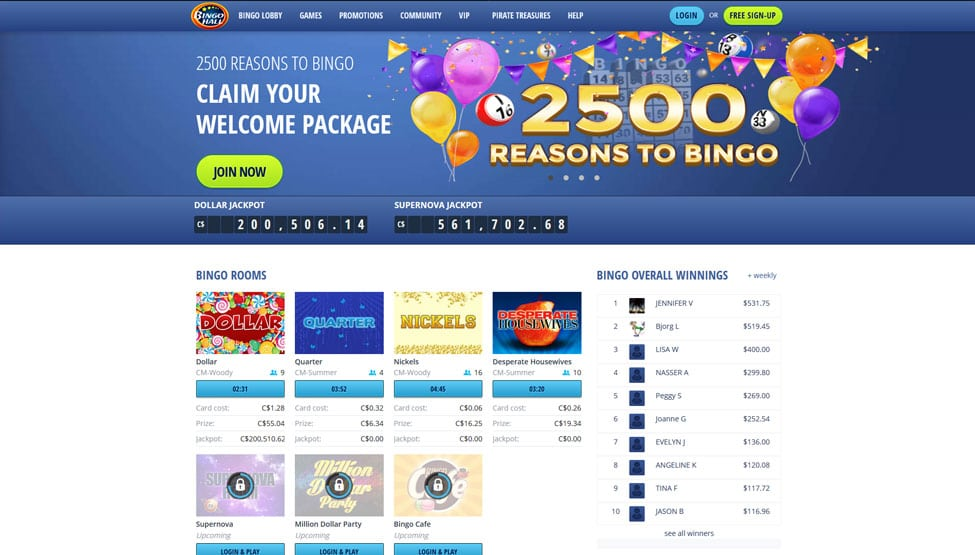 Bingo Hall – get up to 500% bonus + $50 No Deposit games and lobby