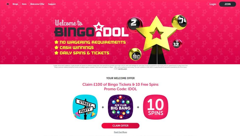 Bingo Idol – get £100 Bonus & 10 Free spins games and lobby