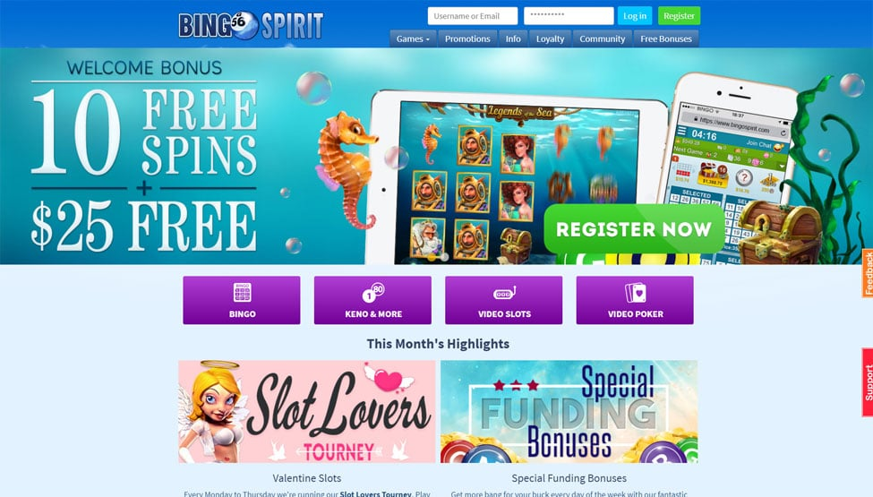 Bingo Spirit – 500% Bonus and 10 Free Spins games and lobby