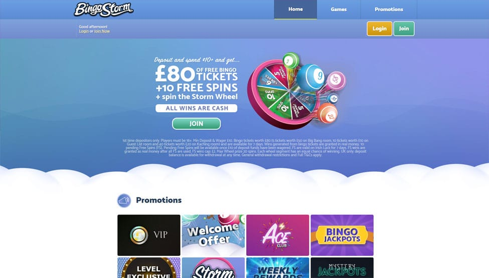 Bingo Storm – £80 Bingo Tickets + 10 Spins games and lobby