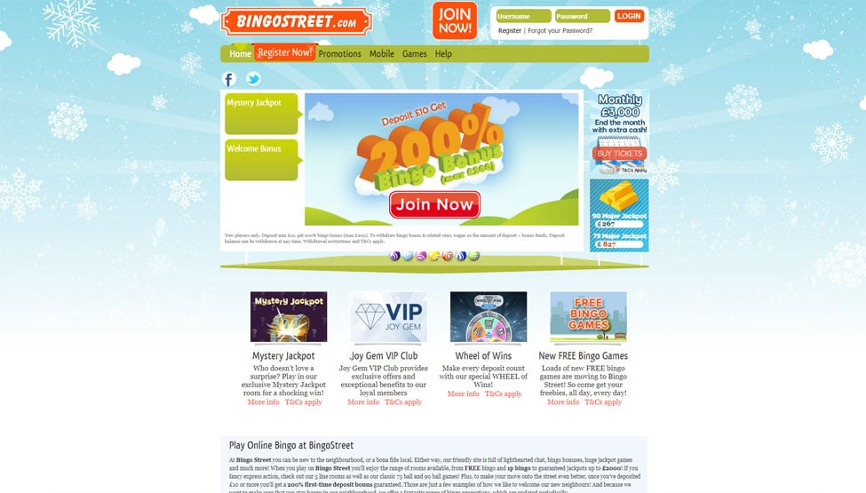 Bingo Street – 200% welcome bonus and free bingo games and lobby