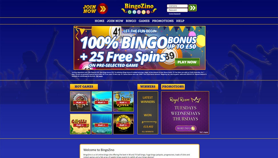 Bingo Zino – 100% bingo bonus money and 25 free spins games and lobby