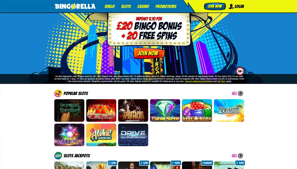 Bingorella Bingo – Deposit £10 Play with £30 + 20 Free Spins games and lobby