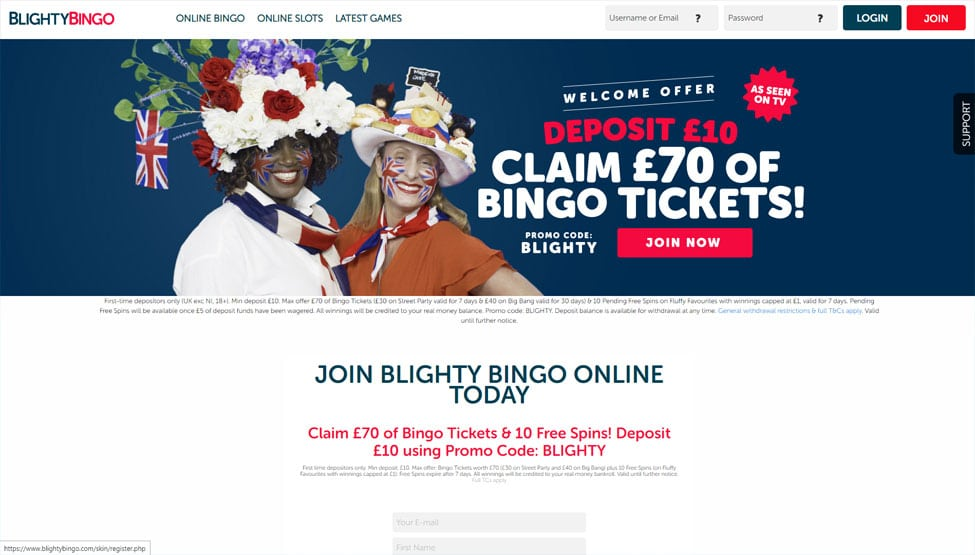 Blighty Bingo – Deposit £10 & get £70 tickets games and lobby