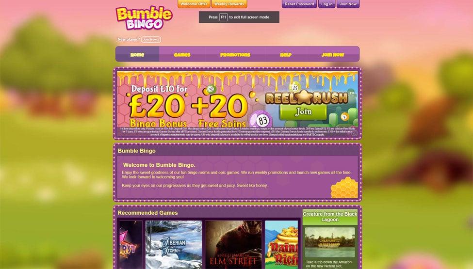 Bumble Bingo –  Free £20 Bonus + 20 Free Spins games and lobby