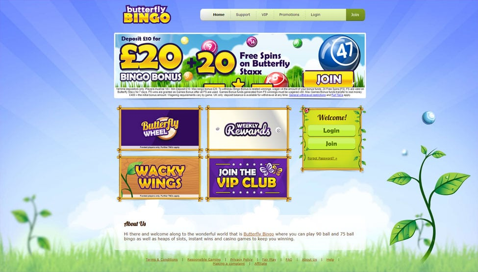 Butterfly Bingo – 50 Free Spins + 400% bonus money games and lobby