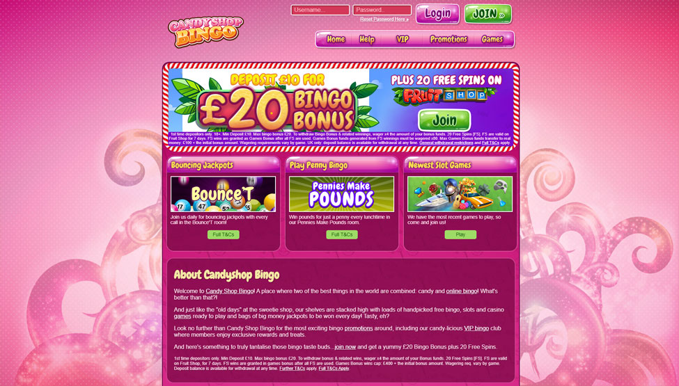 Candy Shop Bingo – Deposit £10 and get £40 bingo tickets games and lobby