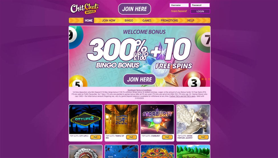 Chit Chat Bingo – 300% Bingo Bonus + 10 Free Spins games and lobby