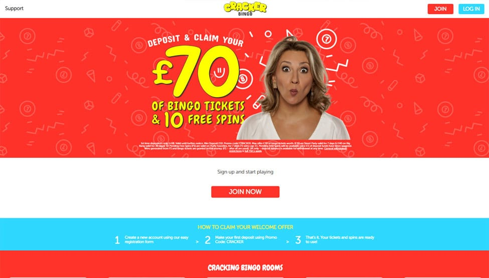 Cracker Bingo – Free £100 Tickets + 25 Free Spins games and lobby