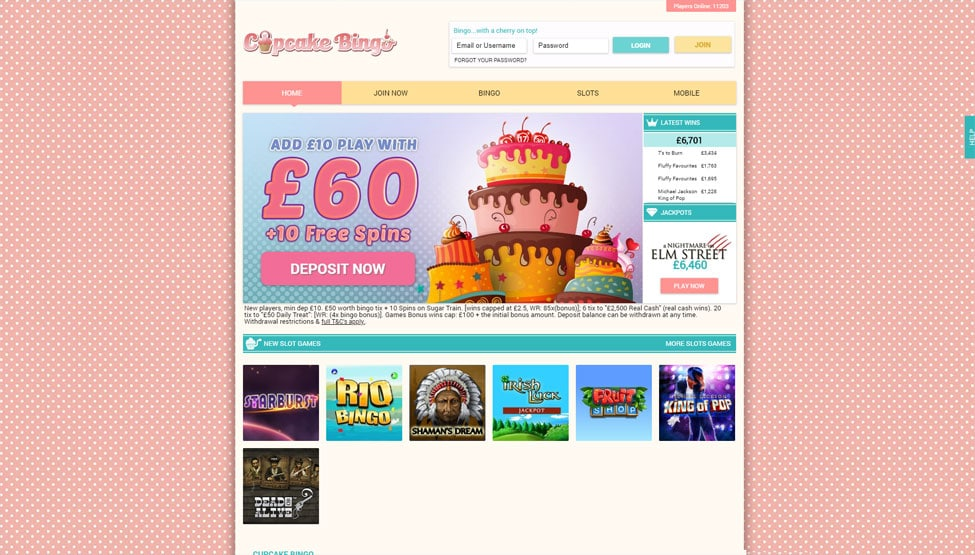Cupcake Bingo – Deposit £10 Play with £60 Plus 10 Free Spins games and lobby