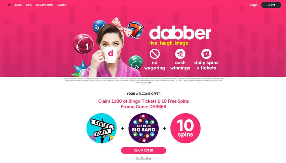 Dabber Bingo – Deposit £10 for £70 of bingo tickets games and lobby