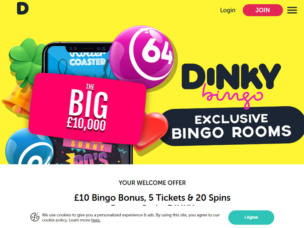 Dinky Bingo – £10 Bingo Bonus, 5 Free Bingo Tickets & 20 Free Spins games and lobby