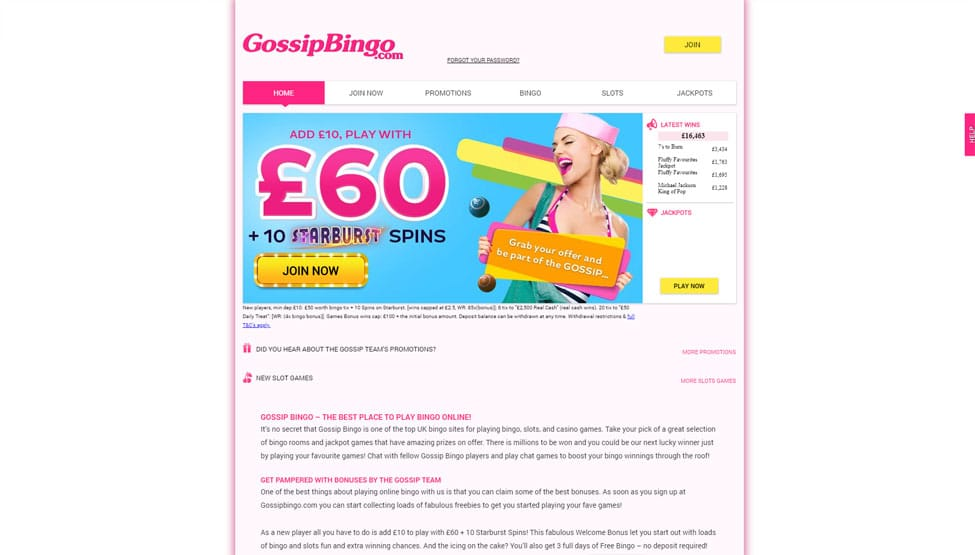 Gossip Bingo – add £10 play with £60 + 10 FREE Spins! games and lobby