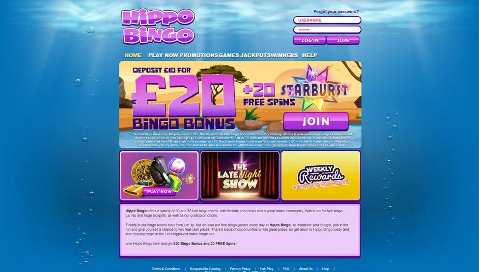 Hippo Bingo – 200% welcome bingo bonus up to £200 games and lobby