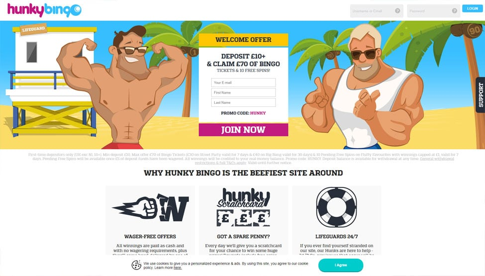 Hunky Bingo – Deposit £10 & play with £70 tickets games and lobby