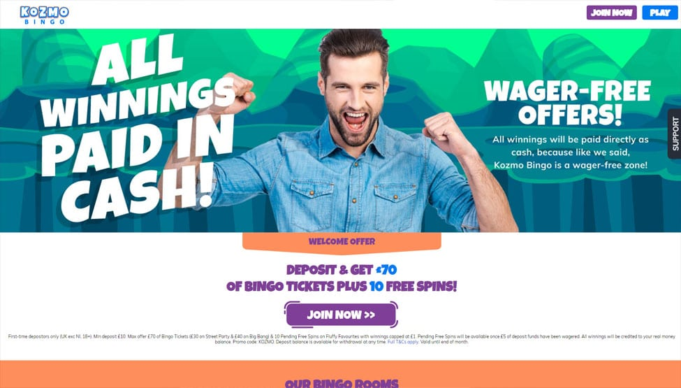 Kozmo Bingo – Deposit £10 to play with £70 bingo tickets games and lobby