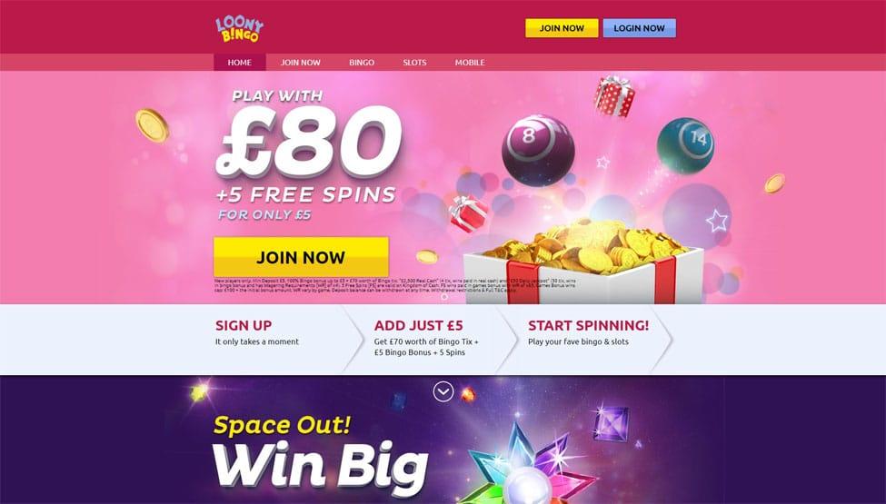 Loony Bingo – play with £60 Free Bingo Money games and lobby