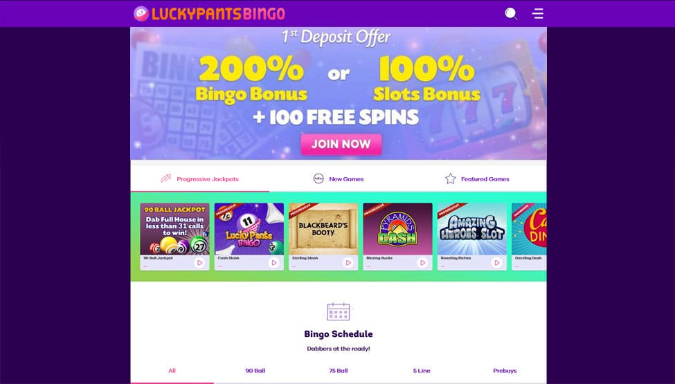 Lucky Pants Bingo – 200% on first deposit bonus games and lobby