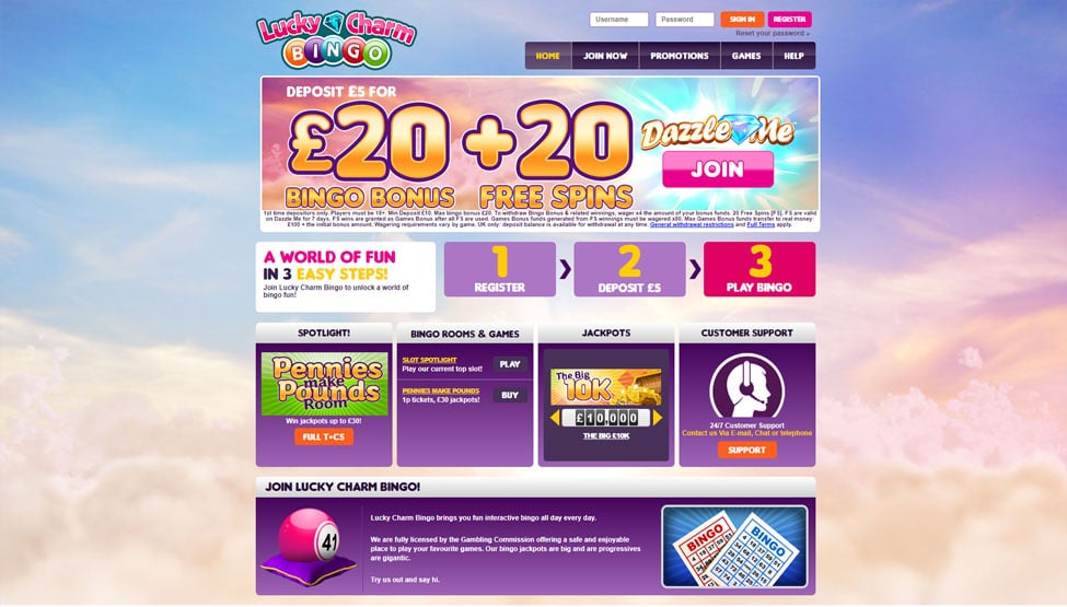 LuckyCharm Bingo – Deposit £5 and get 20 free spins games and lobby