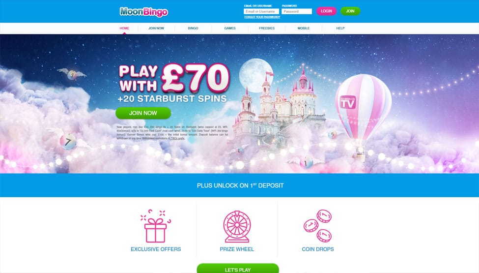 Moon Bingo – Join now and turn £10 into £40 + 100 Free Spins! games and lobby