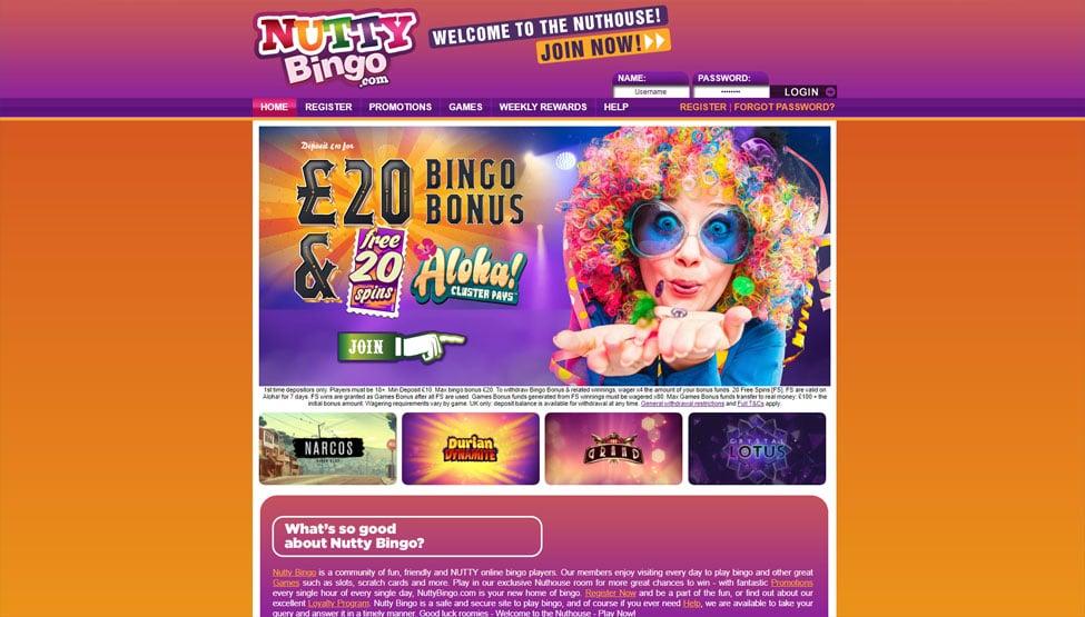 Nutty Bingo – 250% bingo bonus + a Free Welcome Gift games and lobby