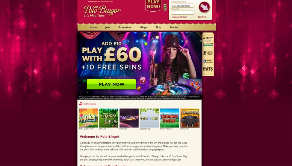 Polo Bingo – Claim a fabulous 500% Bonus and 10 Free Spins games and lobby