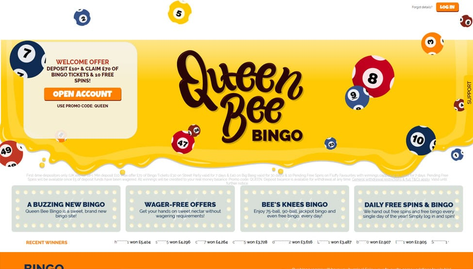 Queen Bee Bingo – Deposit £10 to play with £70 of bingo tickets games and lobby