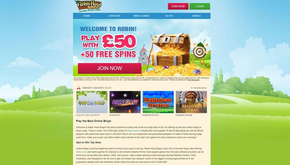Robin Hood Bingo – Join and get £50 Bingo Bonus! games and lobby