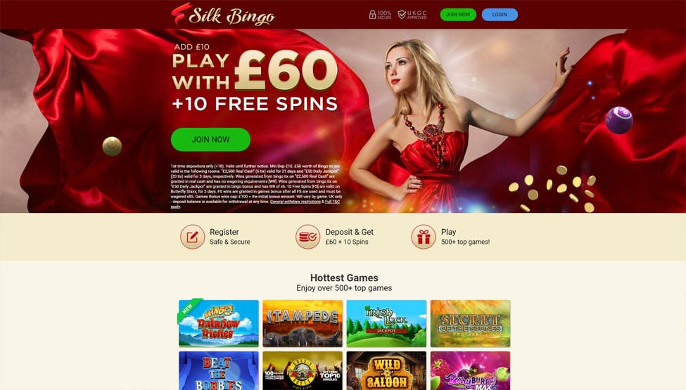 Silk Bingo – £50 Bingo Bonus + 10 FREE Spins games and lobby