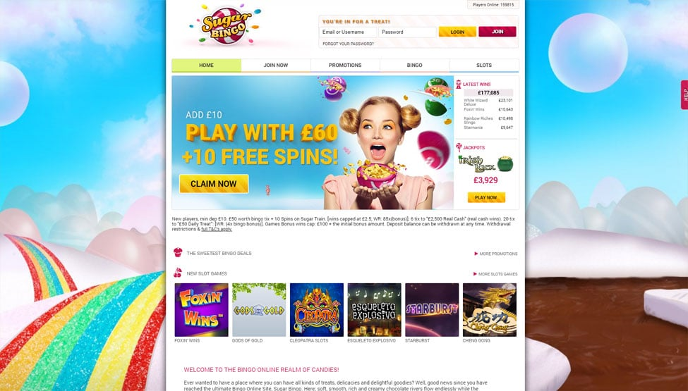 Sugar Bingo – ad £10 and play with £60 + 10 FREE Spins games and lobby