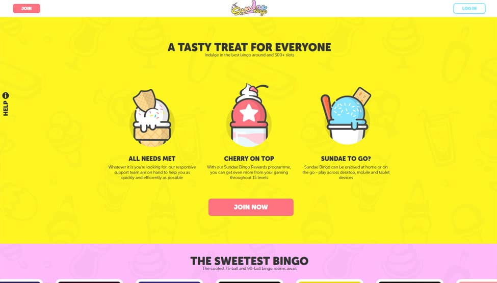 Sundae Bingo – new bingo experience, no wagering games and lobby