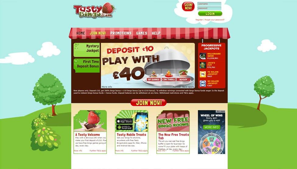 Tasty Bingo – £30 bingo bonus + £10 slots bonus games and lobby