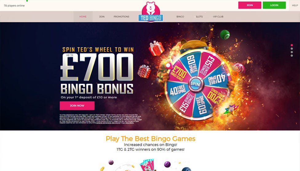 Ted Bingo – Sign up now – add £10 to play with £50 games and lobby