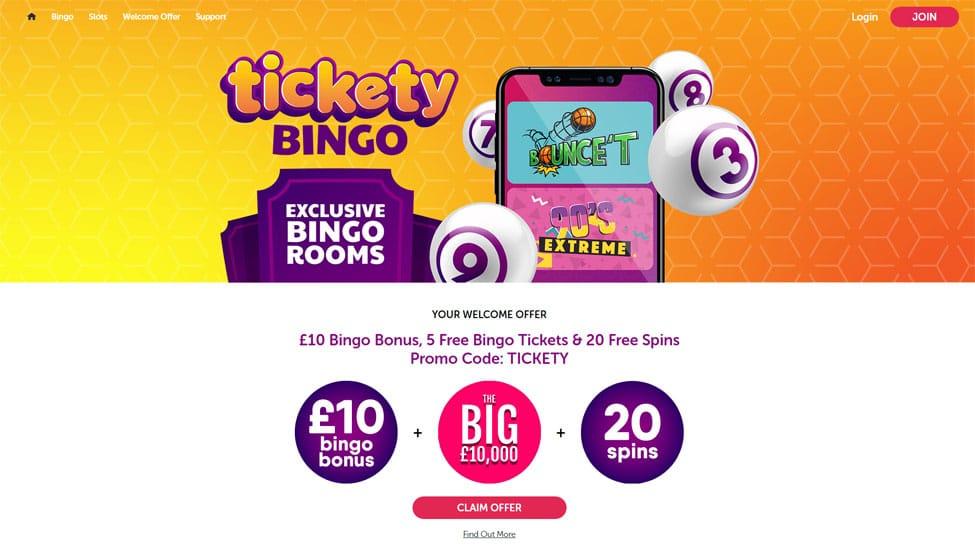 Tickety Bingo – 5 Free Bingo Tickets & 20 Free Spins games and lobby