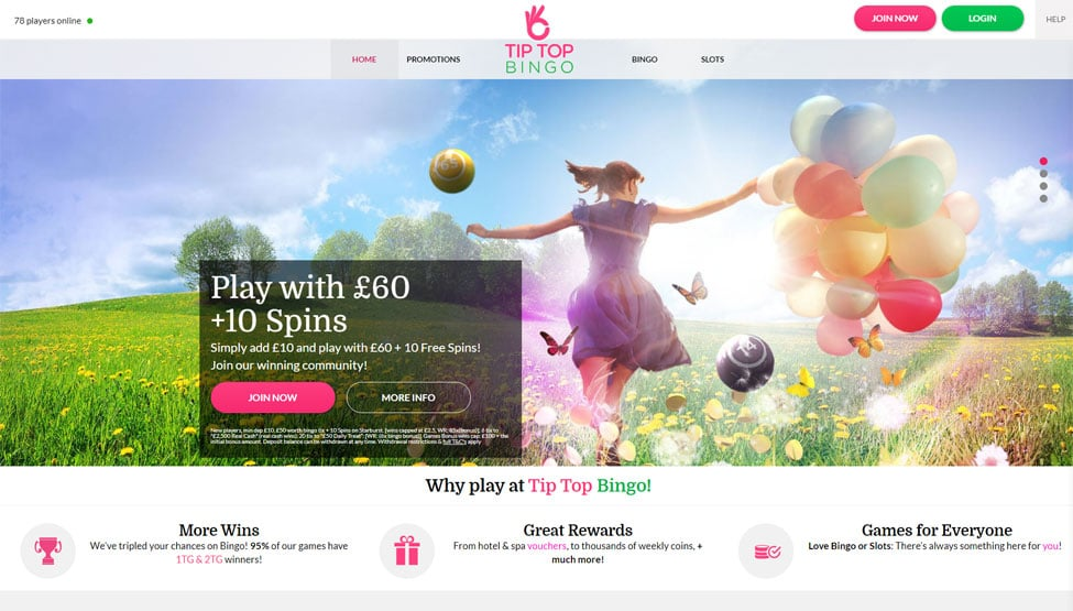 Tip Top Bingo – £50 Free Bngo Tickets + 10 Free Spins games and lobby