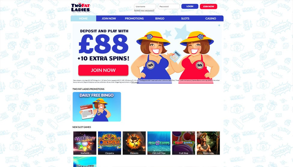 Two Fat Ladies Bingo – 300% bonus up to £88 and 10 free spins! games and lobby