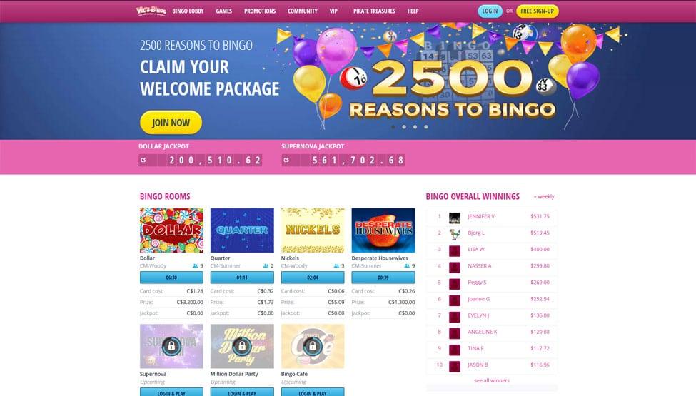 Vics Bingo – 500% deposit bingo bonus for new players games and lobby
