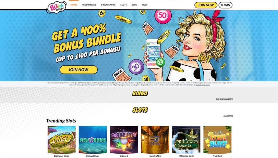 Wink Bingo – Bonus 300% on bingo and 200% on games games and lobby