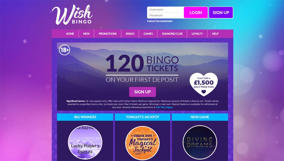 Wish Bingo – Deposit £10 Play with £60 Plus 120 Free Tickets games and lobby