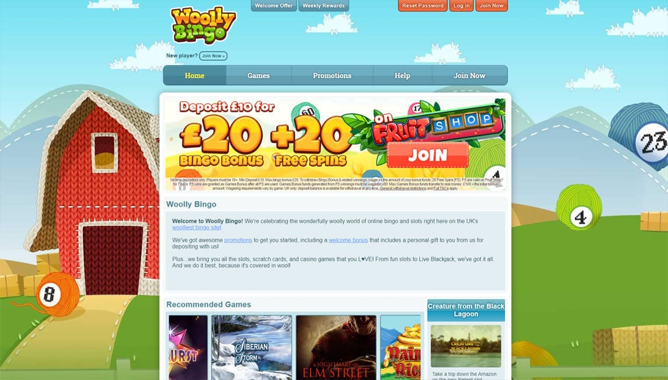 Woolly Bingo – Enjoy £20 bonus + 20 spins on your first deposit games and lobby