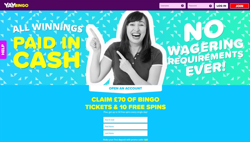 Yay Bingo – Deposit £10 to play with £70 bingo tickets games and lobby