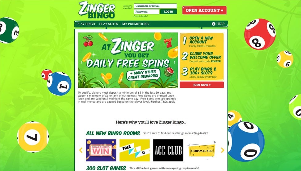 Zinger Bingo – 10 Free Spins + £80 Free Bingo tickets games and lobby