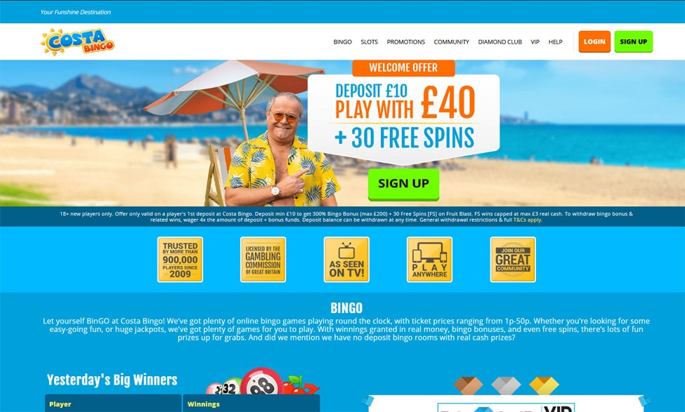 Costa Bingo – Get Amazing £40 Bonus + 30 Free Spins games and lobby