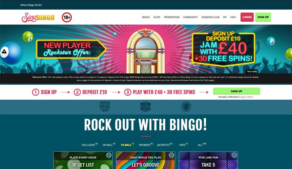 Sing Bingo – £30 Bonus Cash + 30 Free Spins! games and lobby